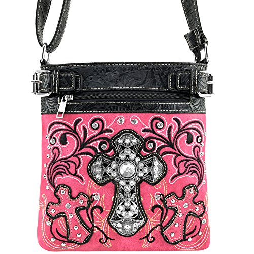 Western Handbag Purse Embroidery Crossbody Cross Carry Pink Messenger Cowgirl Studded Rhinestone Concealed Wallet Busy Trifold Floral Messenger Justin Bag West PSvqEw