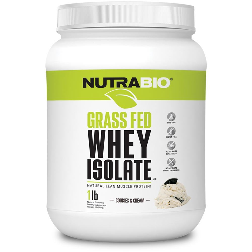 NutraBio Grass Fed Whey Isolate Protein (Cookies and Cream, 1 Pound)