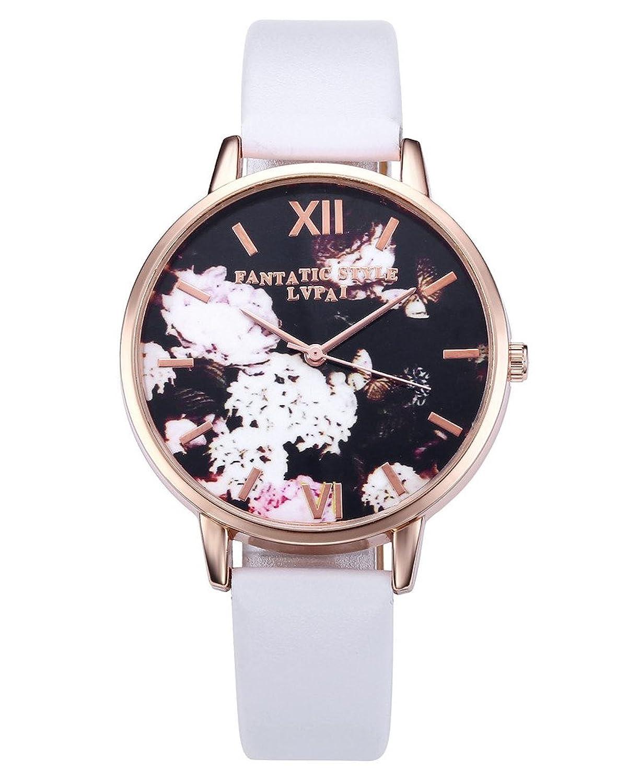 トッププラザファッションレディースアナログ腕時計、PUレザーバンドローズゴールドトーン – ホワイト Flower Watch B06W52YPM1Flower Watch