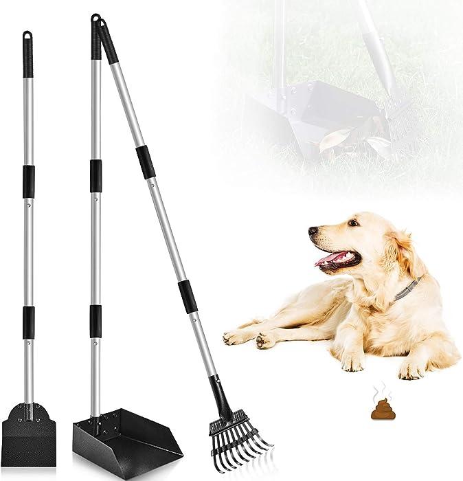 PETRIP Dog Pooper Scooper, 3 Pack Upgraded Adjustable Pet Poop Tray Rake and Spade Set,Pet Poop Scooper Long Handle Stainless Handle Bin with Rake for Medium Large Dog