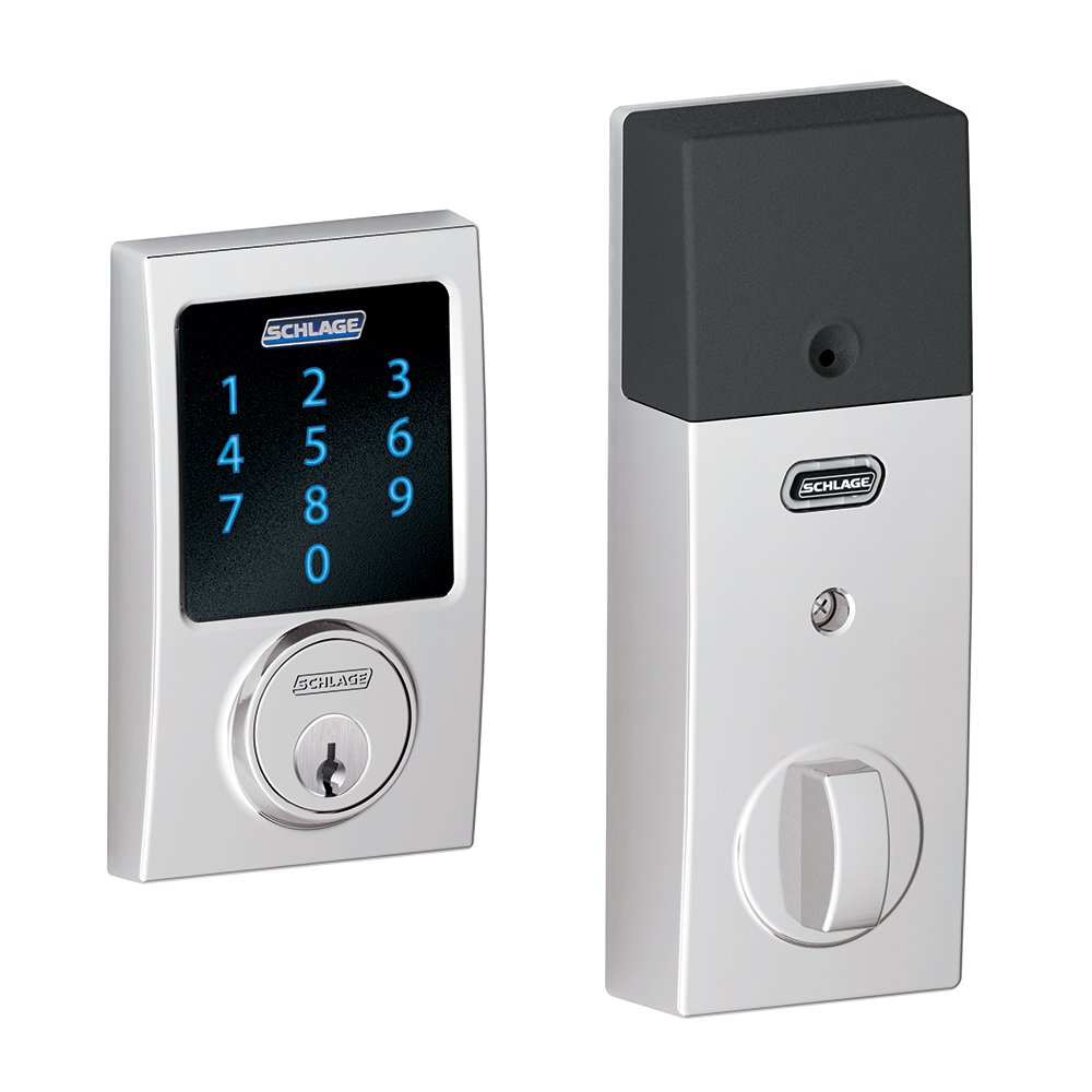 Schlage Z-Wave Connect Century Touchscreen Deadbolt with Built-In Alarm, Bright Chrome, BE469 CEN 625, Works with Alexa via SmartThings, Wink or Iris