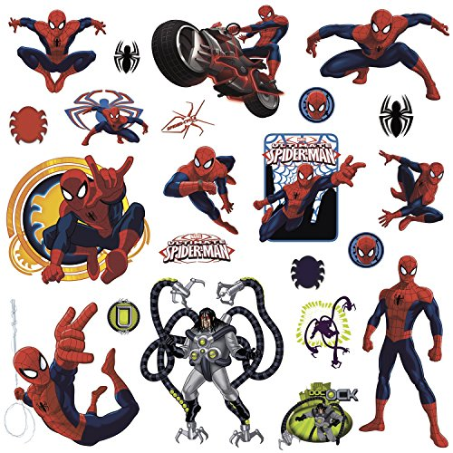 RoomMates RMK1795SCS Ultimate Spiderman Peel and Stick Wall Decals, 22 Count (Appliques Man Spider Wall)