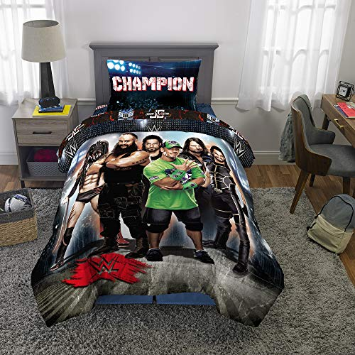 Franco Kids Bedding Soft Comforter and Sheet Set, 4 Piece Twin Size, WWE Super Stars (Size Twin Wwe Bedding)