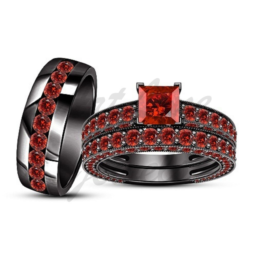 ArtLine Jewels 14k Black Gold Filled 1.20Carat Round Cut Red Garnet His/Her Matching Trio Ring Set