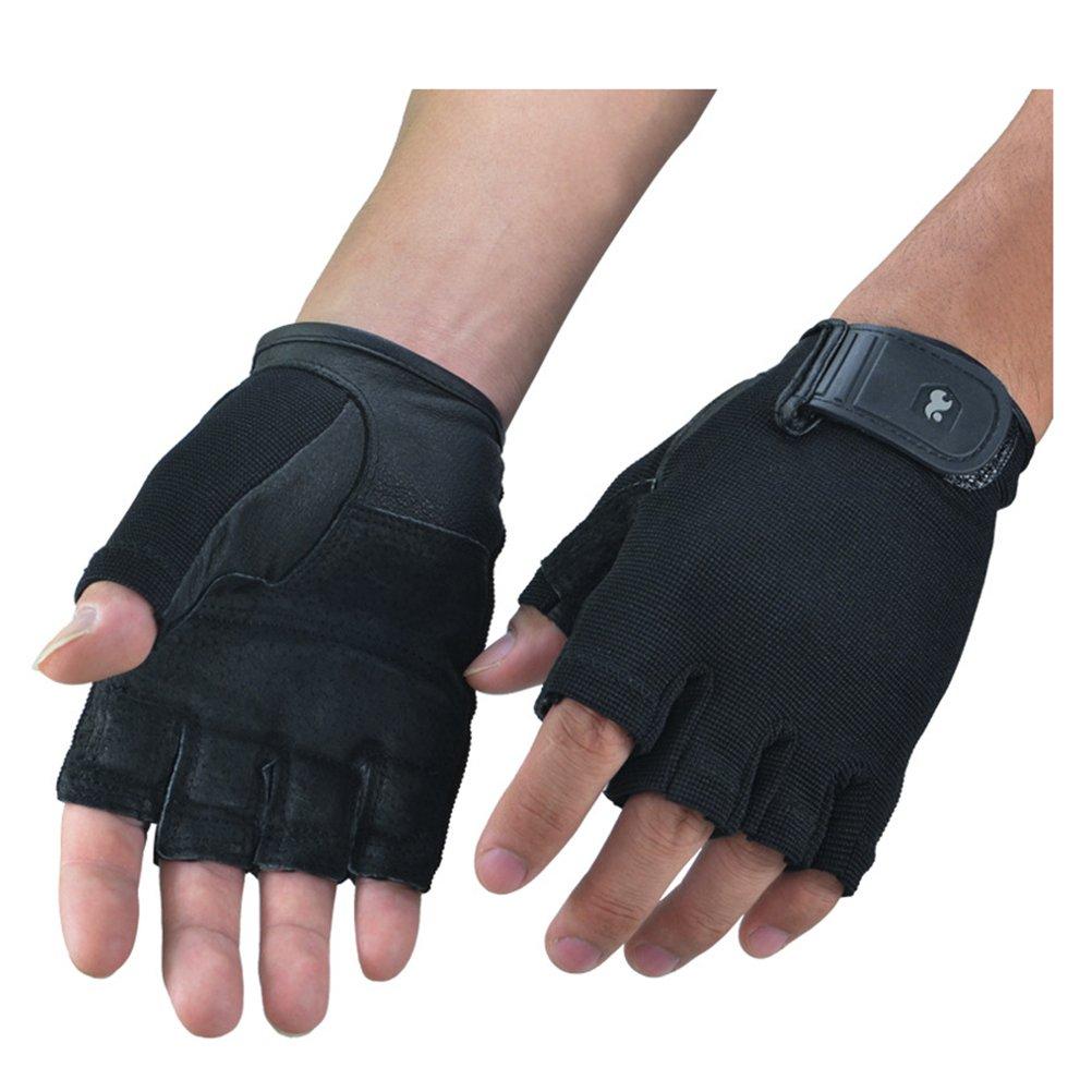 アウトドアトレーニングフィットネス手袋ユニセックスhalf-finger指なしミトン防振slip-proofシープスキンPig splip X-Large ブラック B0793TCZGF