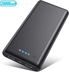 Portable Charger 26800mAh?2020 Upgrade High Capacity?Power Bank Ultra Compact External Battery Pack Backup with 4 LED Lights,Dual USB Ports High-Speed Charging for Cell Phones, Tablet and More (Black)
