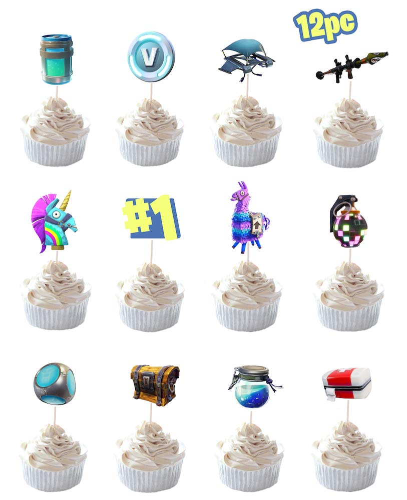 Party Hive 12pc Fortnite Cupcake Toppers for Birthday Party Event Decor