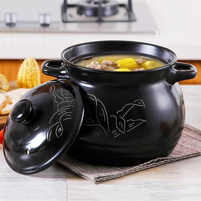 Olla LINGZHIGAN Cazuela Cocina Cerámica Sopa Loza Hogar Alta Temperatura Llama Abierta Jinhua Porcelana de Litio Cazuela Gachas (Capacidad : 3.5L): ...