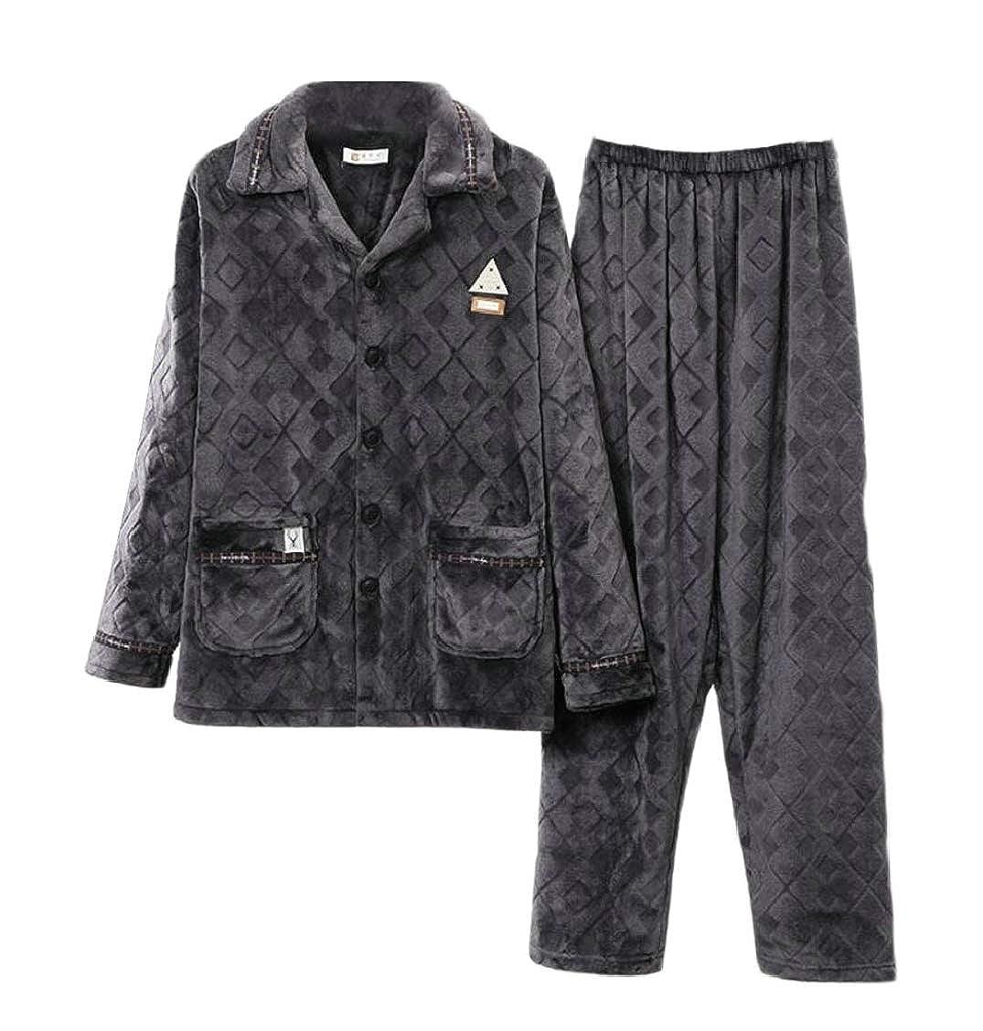 XQS Mens Comfy Winter Warm Flannel Thicken Solid Color Pajamas Set