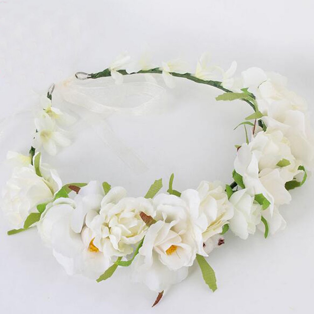 Brikuinr Flower Wreath Crown Boho Flower Headband Hair Wreath Hair Garland Flower Halo Floral Headpiece Wedding Festival Party