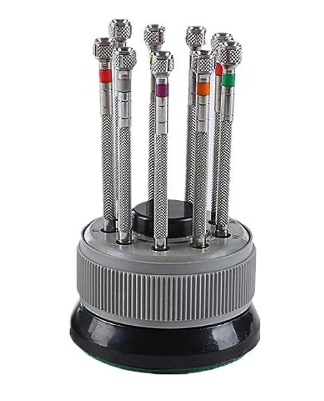 Samgu-9 Pcs Relojero Destornilladores Set 0.5mm-2.5mm + Rotatorio ...
