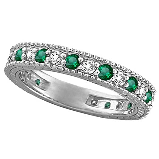 yg nl rings yellow bands eternity anniversary in stackable jewelry piece emerald with gold diamond band green