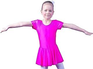 tanzmuster Kinder Kurzarm Ballett Trikot Marina aus glänzendem Lycra mit angenähtem Röckchen in rosa, weiß, schwarz, Lavendel, lila, Petrol und pink.