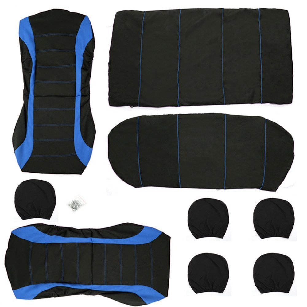 Full 9 Set Front /& Rear Universal Resistant Covers Set Gray KKmoon Car Seat Covers Auto Interior Accessories Universal Car Seat Cover Protector