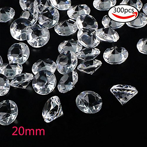 Outuxed 300pcs 20mm Clear Wedding Table Scattering Crystals Acrylic Diamonds Gemstones Wedding Bridal Shower Party Decorations Vase Fillers, 1.5 LB, with 1 Large Velvet (Diamond Clear Jewel)