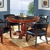 Steve Silver Company Tournament Black Top Poker Game Table in Cherry