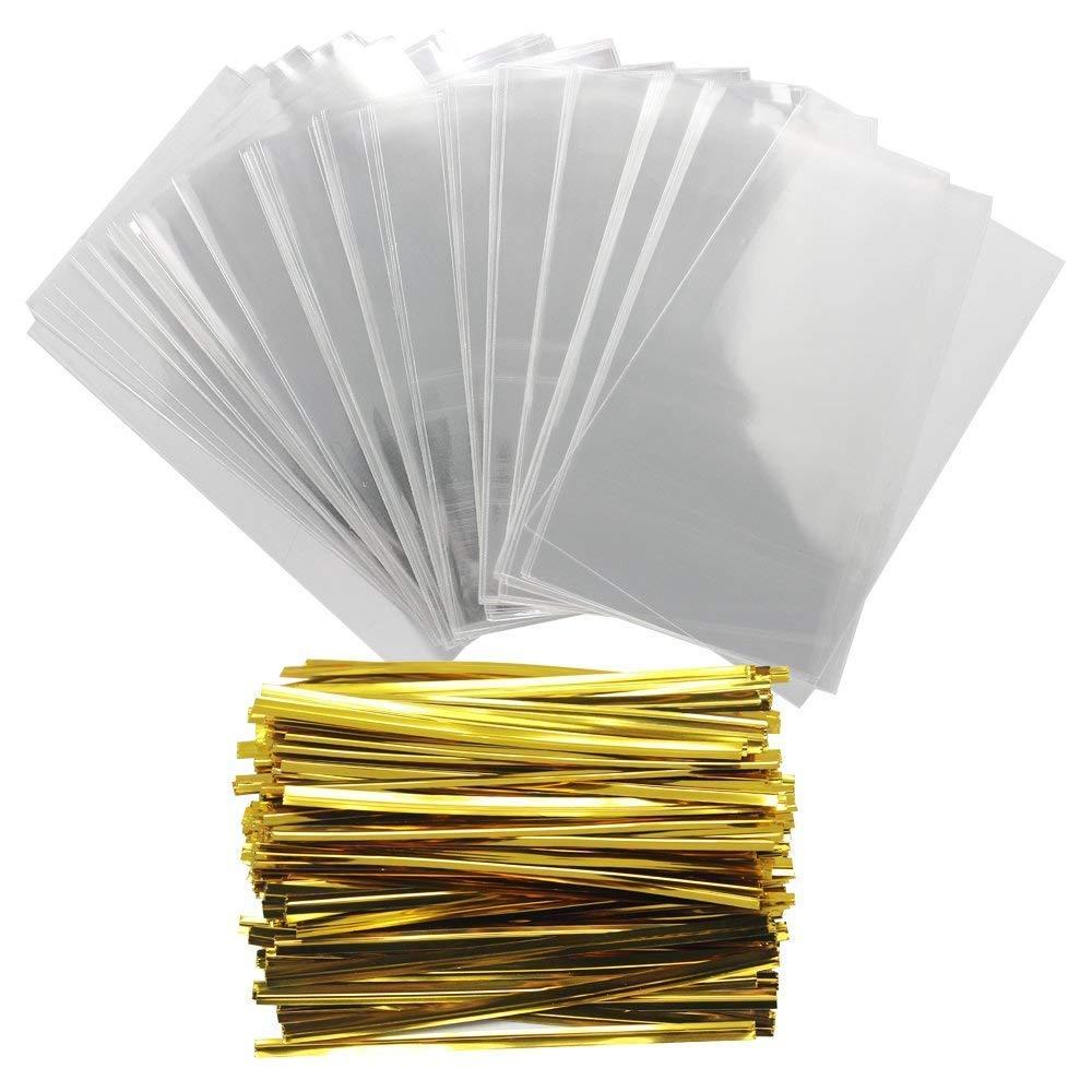 Frmarche - 100 Bolsas de plástico Transparente y 100 Bandas ...