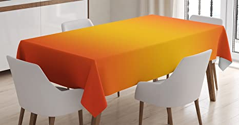 Ambesonne Ombre Tablecloth Tropical Sunset Inspired Summer Themed Design Artistic Modern Room Decorations Dining