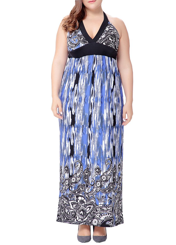 Wicky LS Women's Vintage Halter Printing Dress Plus for Special Occasion (L, Blue)