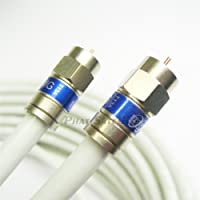 8ft White Bare Copper RG6 Cable 18AWG CORE 3Ghz 75 Ohm CL2 in-Wall Use HD Antenna DirecTV Satellite Approved Weather Seal Brass CONNECTORS UL ETL Cut to Order Assembled in USA by PHAT SATELLITE INTL