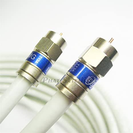 8ft (10 PACK) WHITE TRISHIELD WEATHER SEAL Indoor Outdoor RG6 Coaxial Cable BRASS CONNECTOR