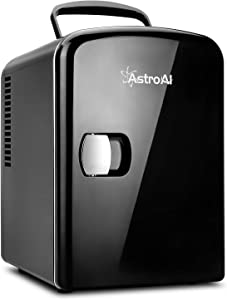 AstroAI Mini Fridge 4 Liter/6 Can AC/DC Portable Thermoelectric Cooler and Warmer for Skincare, Foods, Medications, Home and Travel (Black)