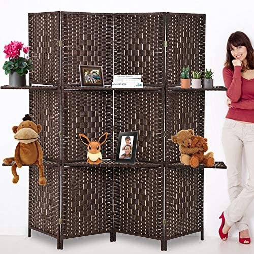 Room Divider Folding Portable Privacy Wooden Screen 4 Panel Partition Wall Indoor Outdoor Folding Screen w Dual-Sided Hinges 2 Removable Display Shelves for Home Office, Brown