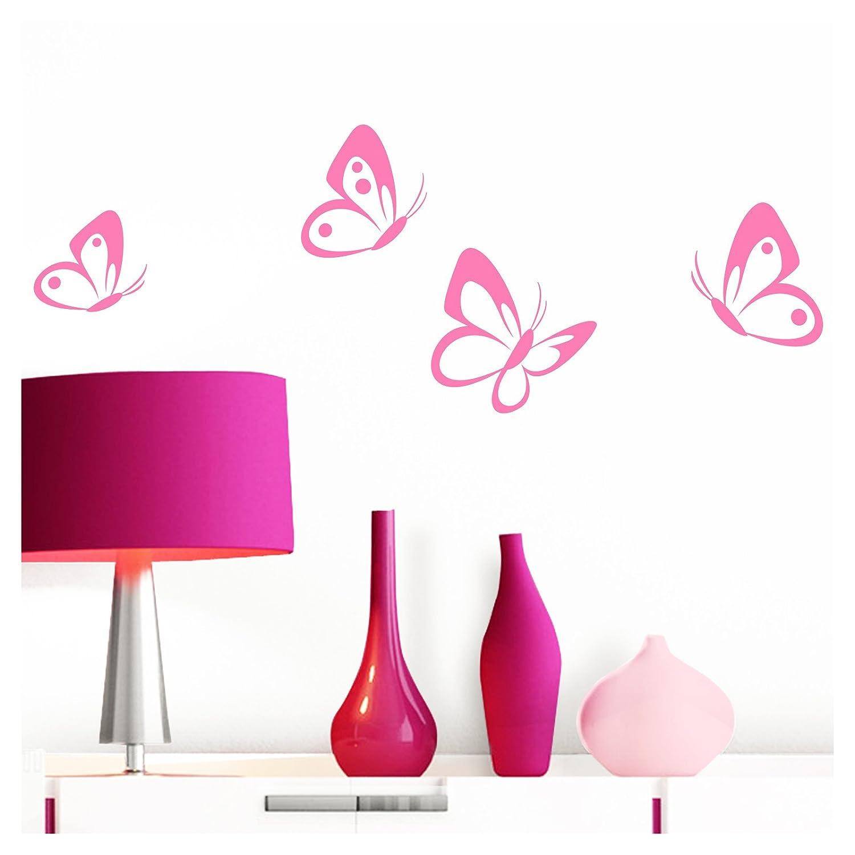 Grandora W697 Pegatina Pared 4 Set Mariposas - rosa claro, 8 - 10 cm