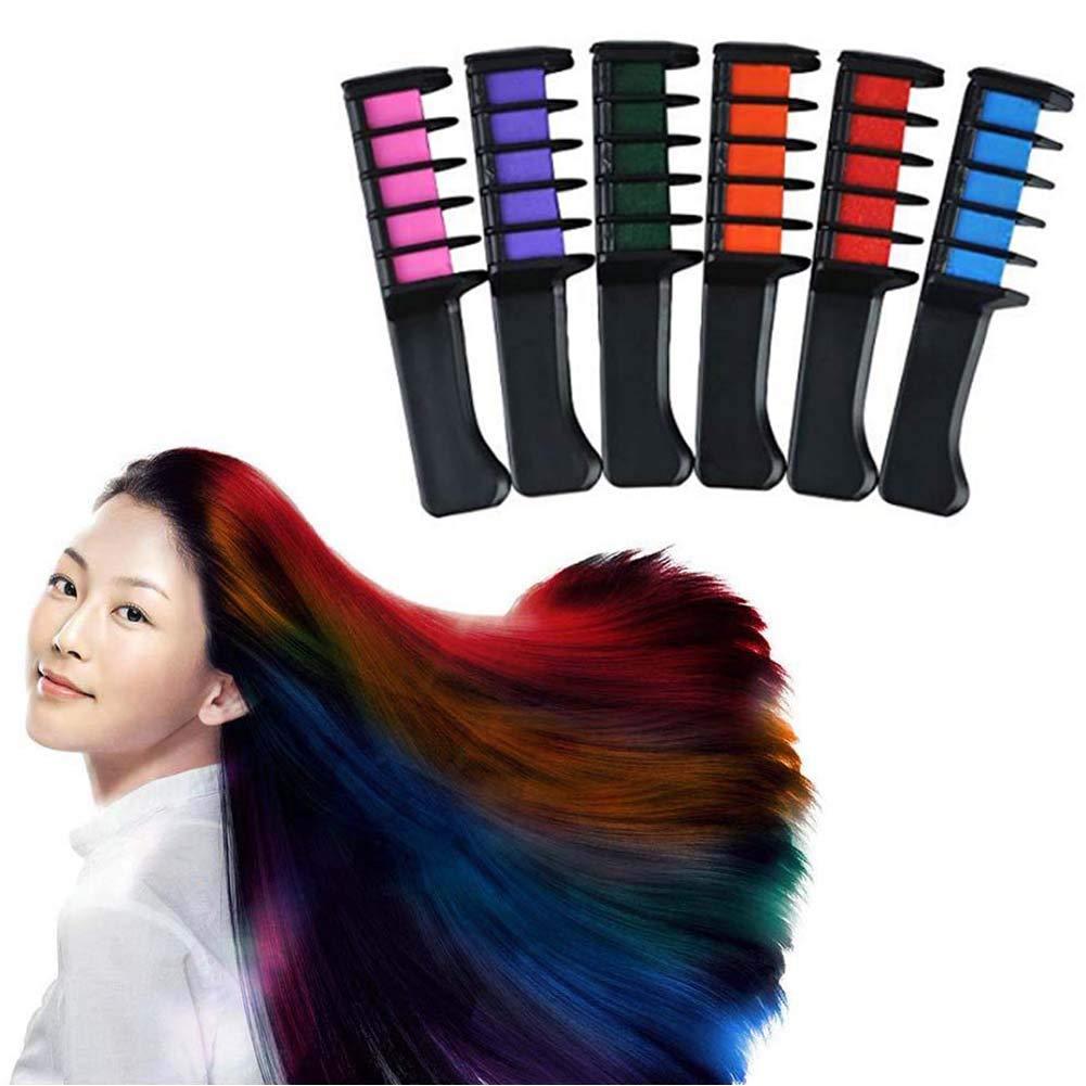 DXJJ Disposable Hair Dye Stick 6 Color Shimmer Long Lasting Washable Hair Dye Hair Chalk Comb (2 Sets) by DXJJ