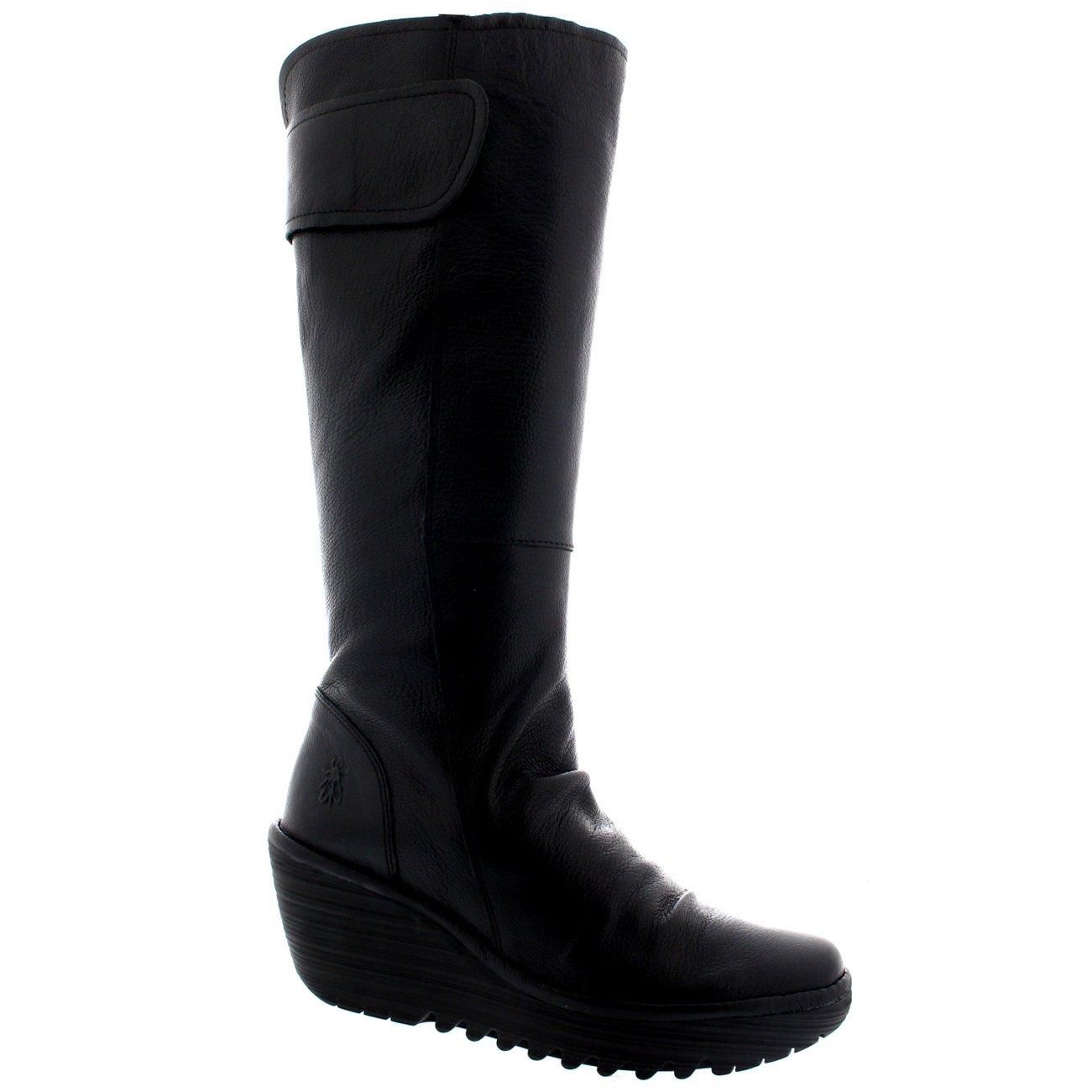 Womens Fly London Yulo Wedge Heel Leather Fashion Knee High Winter Boots B01K51GRHI US10/EU41|Black