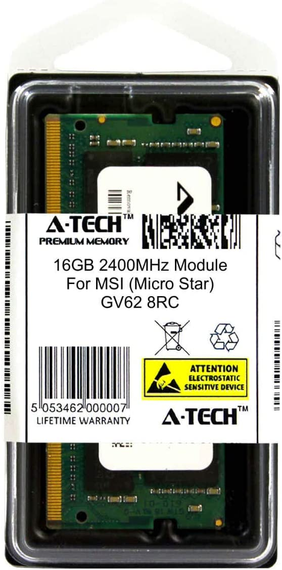 GV62 8RC Laptop /& Notebook Compatible DDR4 2400Mhz Memory Ram ATMS367911A25831X1 A-Tech 16GB Module for MSI Micro Star