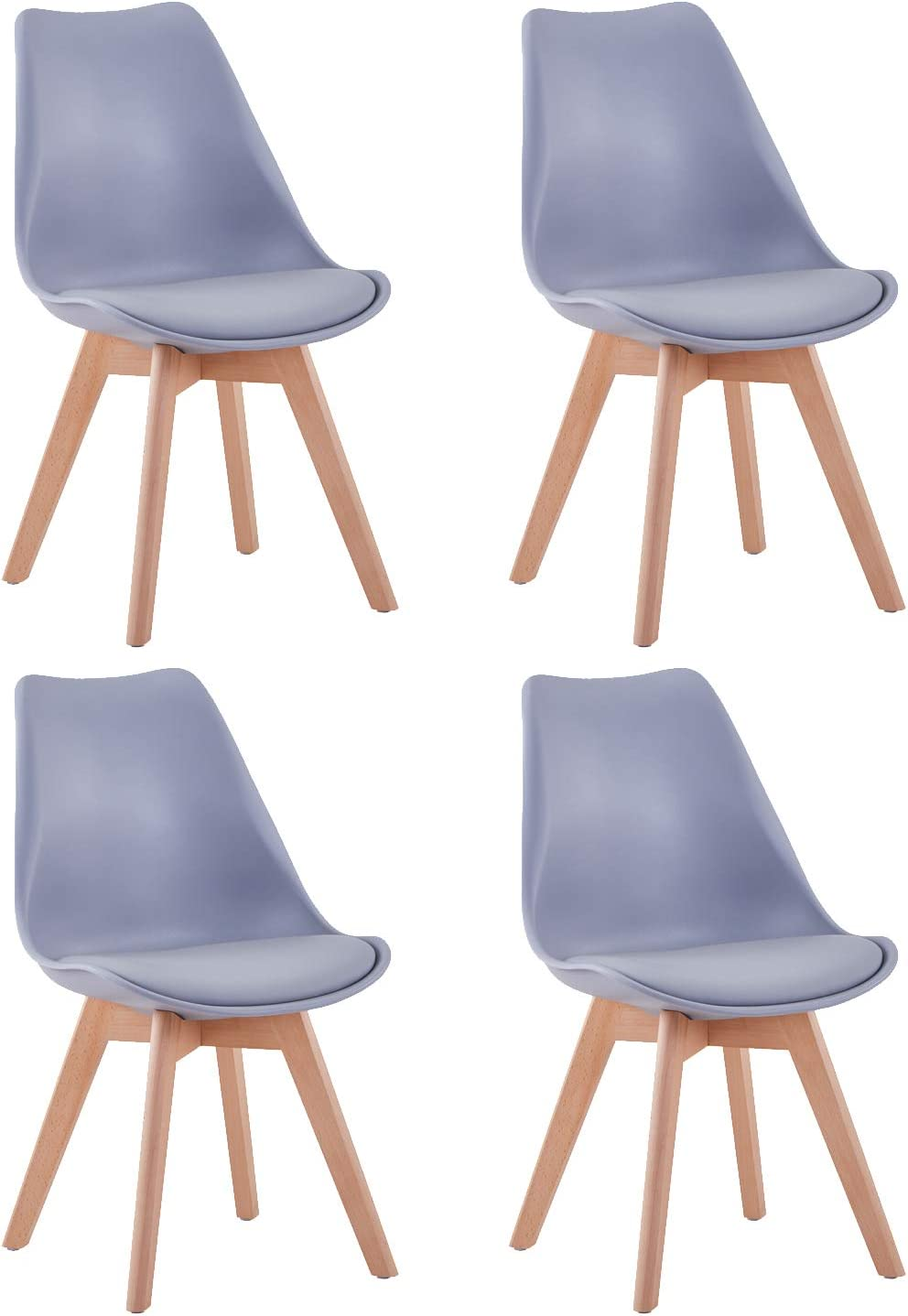 GOLDFAN Tulip Dining Chairs 4 Set Natural Solid Wood Legs Soft Padded Seat Kitchen Chairs Retro Lounge Chairs,Grey