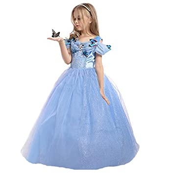 elsa anna uk girls fancy dress party outfit snow queen princess halloween costume cosplay dress