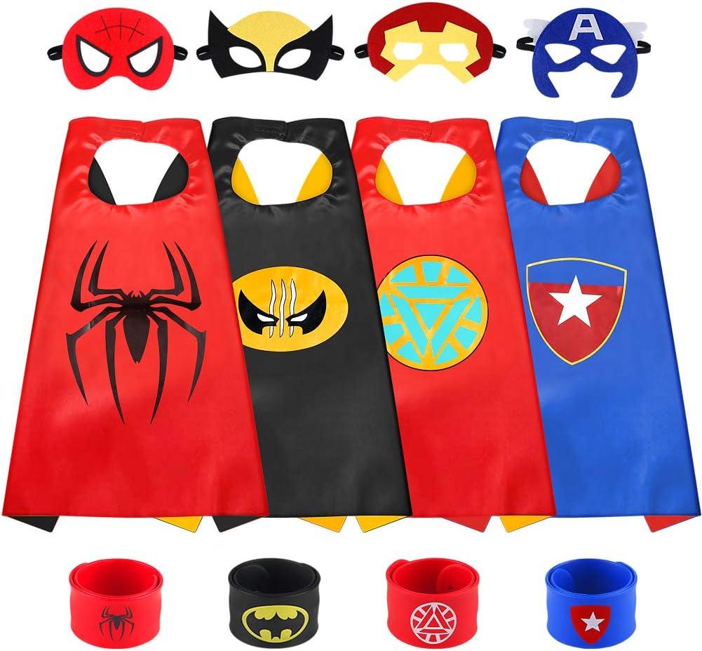 Sinoeem Capa de Superhéroe para Niños - 4 Capas y 4 Máscaras y 4 Slap Pulseras - Ideas Kit de Valor de Cosplay de Diseño de Fiesta de Cumpleaños de Navidad - Juguetes para Niños y Niñas (4pcs - Boy)
