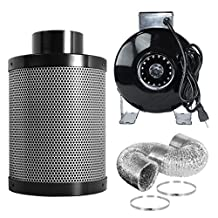 """PrimeGarden Hydroponic 4"""" Inline Fan Air Activated Carbon Filter w/ Pre Filter Ducting Clips Combo for Ventilation Grow Tent Exhaust Kit and Hydroponic Growing System (4'')"""