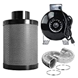 PrimeGarden 4 Inch Inline Fan Carbon Air Filter Ducting Combo Pre-filter Included for Hydroponics Indoor Grow Tent Ventilation System (Inline Fan Filter Ducting Combo, 4'')