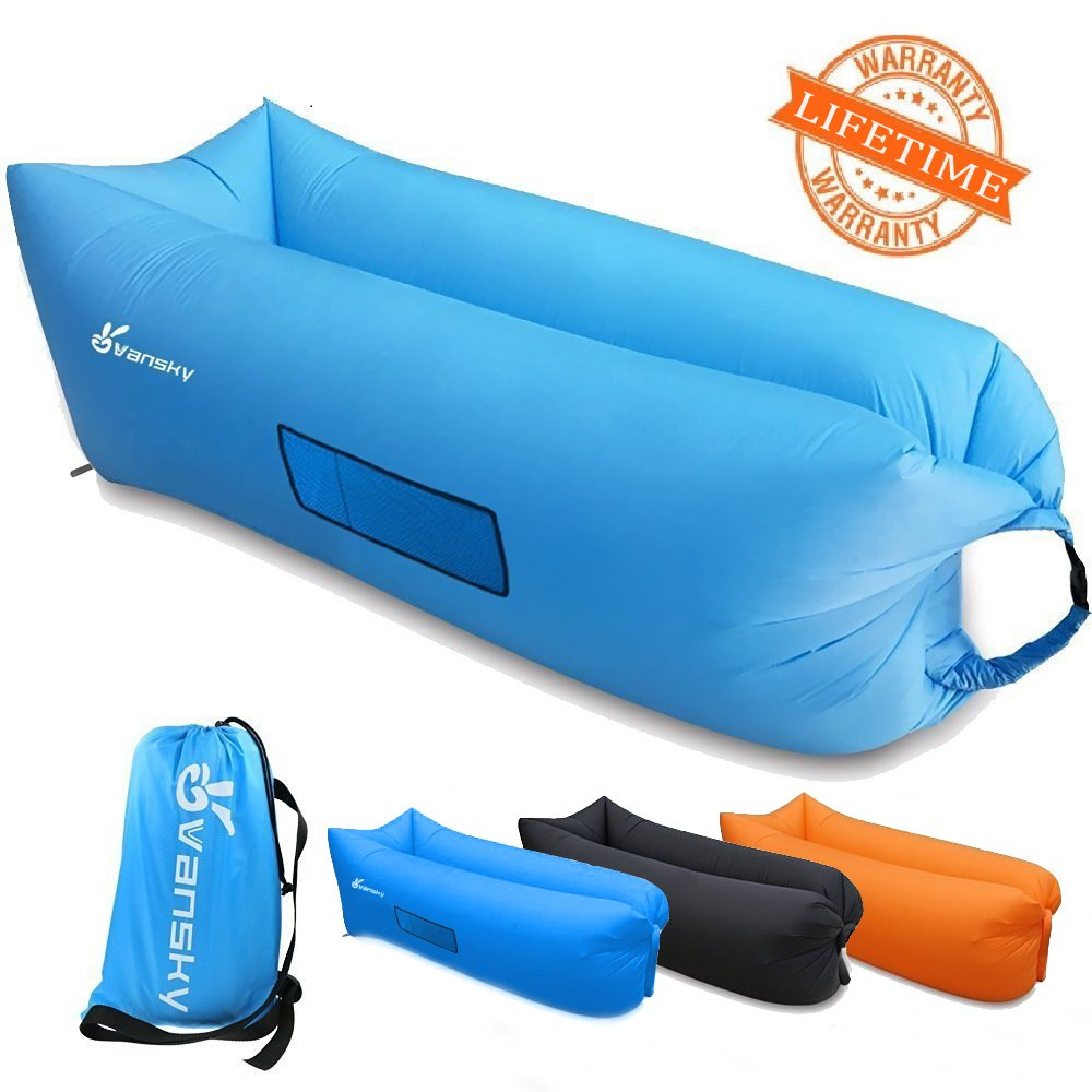 outdoor inflatable lounger portable waterproof air filled fabric bean bag sofa ebay. Black Bedroom Furniture Sets. Home Design Ideas