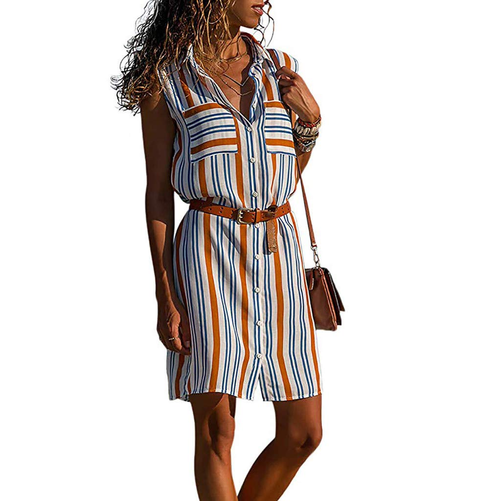 Euone Dress Clearance, Woman Summer Long Blouse Dress Clearance Colorful Striped Print Lapel Sleeveless Short Sundress Pockets Work Office Casual Dresses with Belt