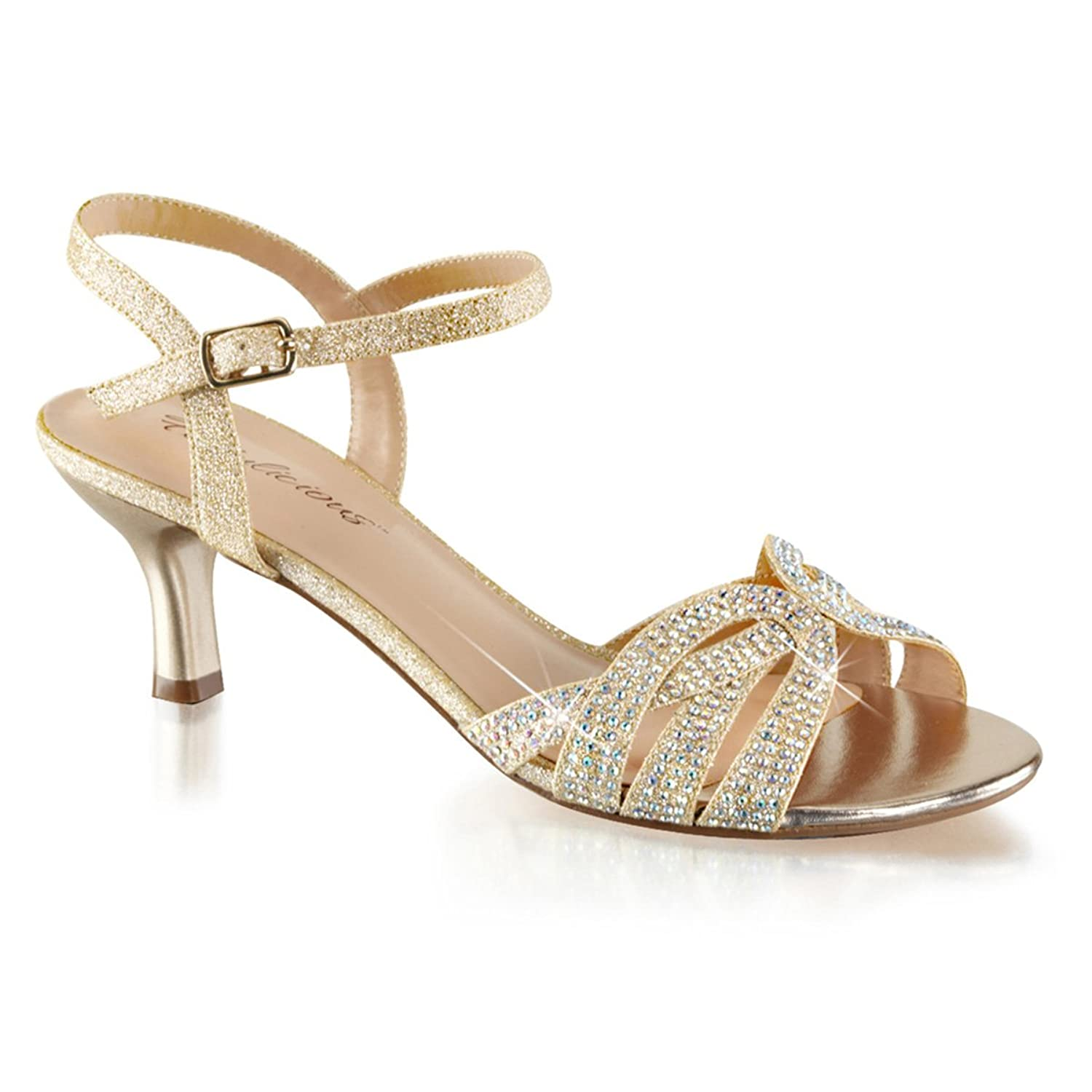 Amazon.com | Womens T Strap Sandal Nude Kitten Heel Shoes Sparkly ...