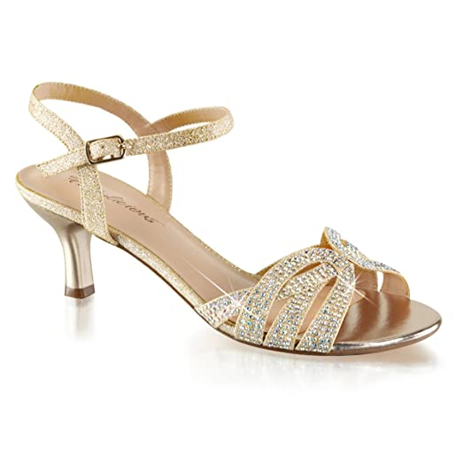 Amazon.com | Womens Kitten Heel Sandals Sparkly Nude Shoes Silver ...