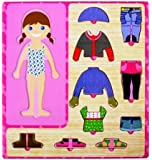 CraftDev Wooden Dress Up Girl Puzzle Shape Board Game (1-5 Years)