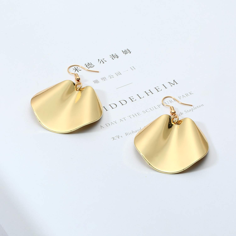JHWZAIY Boho Gold Silver Colored Round Disc Shaped Drop Earring Hook Earring