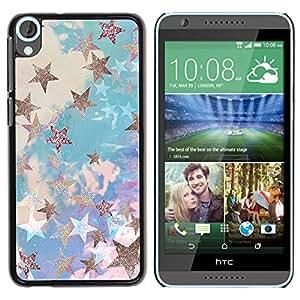 TopCaseStore / la caja del caucho duro de la cubierta de protección de la piel - Glitter Clouds Blue Purple - HTC Desire 820