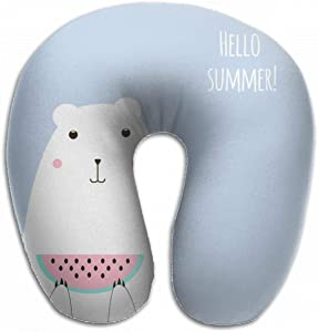 Emvency U-Shaped Travel Neck Support Pillow Cute Polar Bear Watermelon Hello Airplane 12x11.5 Inch Soft U-Pillows with Rebound Material for Kids Adults