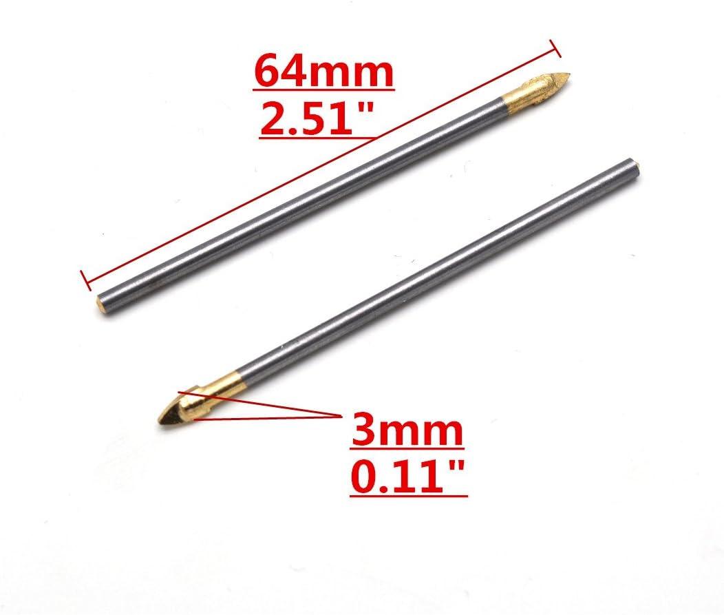 Sydien 5pcs 3mm Spear Point Head Tile Round Shank Drill Bit Triangle Glass Bit 3mm