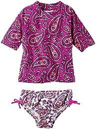 Girls Short Sleeve Rash Guard Swimsuit Set  Baby Toddler Kid   3T  Purple