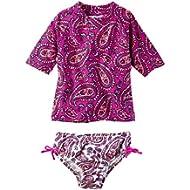 Carter's Girls' Short Sleeve Rash Guard Swimsuit Set (Baby/Toddler/Kid) (3T, Purple)