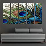 "CanvasCEO Peacock Feather 5 Panel Set Wall Art Decor Canvas Framed Ready to Hang Print Fiberboard (32x12x1"" (80x30x2.5cm) x5 Panels)"