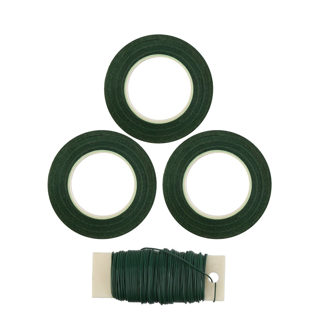 DECORA 1/2'' Wide 3 Pieces Floral Tapes and 18-Gauge Paddle Wire for Bouquets and Flower Arrangement