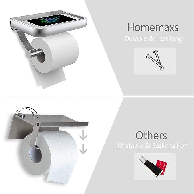 HOMEMAXS Portarrollos Baño Higiénico Instalación de Tornillos- Porta Rollos  de Papel Higiénico de Aluminio Inoxidable con Soporte Estante Para Móvil   ... 8dd7701de458